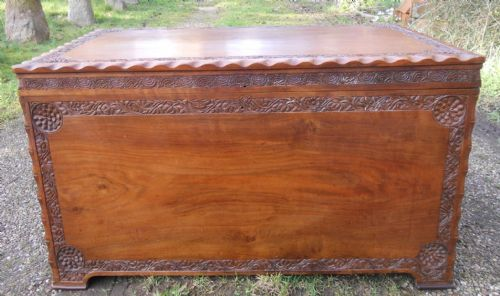 Small Oriental Carved Teak Blanket Box